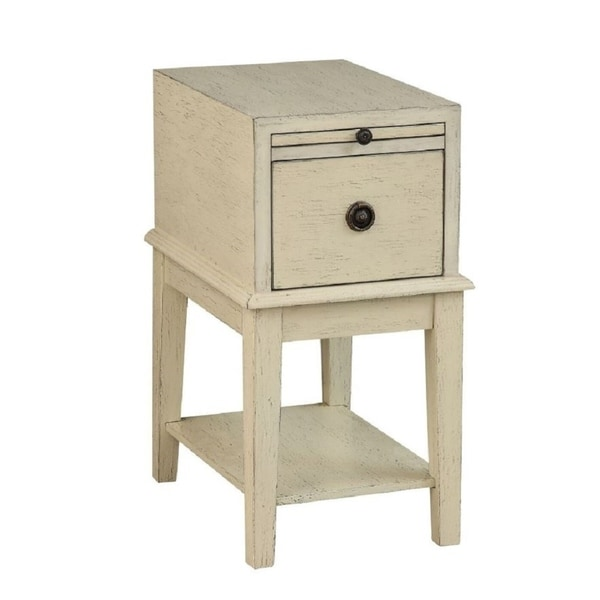 """Somette One Drawer Chairside Table, Millstone Textured Ivory - 14""""L x 19""""W x 26.5""""H"""