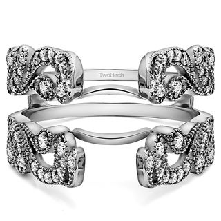 50 Ct Wide Vintage Filigree Millgrained Ring Guard In Solid Platinum Set With Moissanite