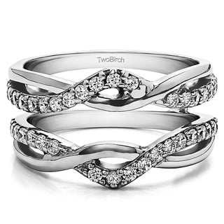 0 57 Ct Criss Cross Infinity Ring Guard Enhancer In Solid 14k Gold Set With Moissanite
