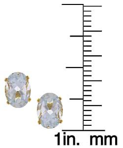 Kabella 14k Yellow Gold Oval Aquamarine Stud Earrings