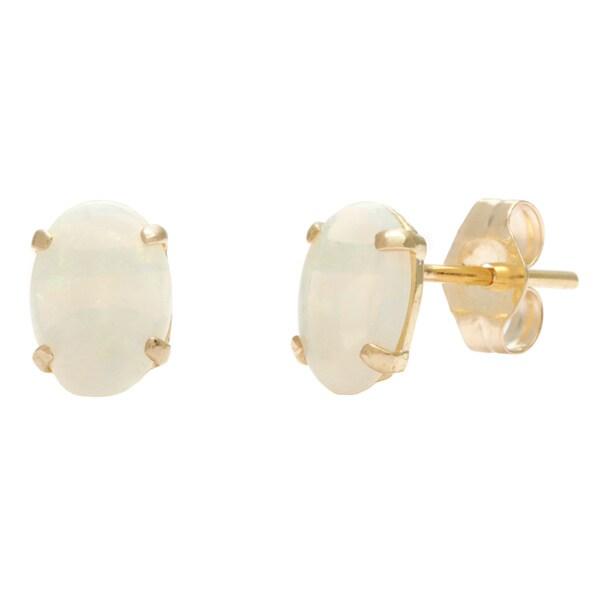 kabella 14k yellow gold opal oval stud earrings