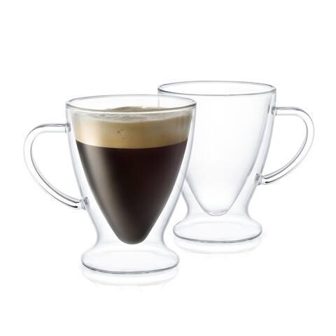 JoyJolt Declan Irish Double Wall Insulated Glasses, 5 Oz Set of Two Espresso Mugs