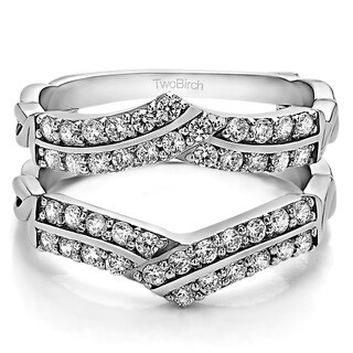 0 66 Ct Double Row Criss Cross Ring Guard Enhancer In Solid 18k Gold Set With Moissanite