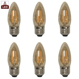 Royal Designs Decorative Vintage Tinted Indoor or Outdoor Candle Shape Edison Medium Base Dimmable LED Bulbs, 6 Pack
