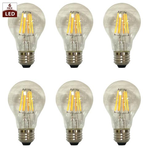 Royal Designs Decorative Vintage Clear Indoor or Outdoor Edison Medium Base Dimmable LED Bulbs, 6 Pack