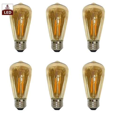 Royal Designs Decorative Vintage Tinted Indoor or Outdoor Straight Tubular Edison Medium Base Dimmable LED Bulbs, 6 Pack