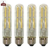 Royal Designs Decorative Vintage Clear Indoor/Outdoor Short Tubular Edison Medium Base Dimmable LED Bulbs, 4 Pack