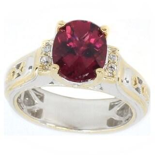 Michael Valitutti Palladium Silver Pink Tourmaline & White Zircon Ring