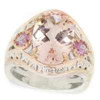Michael Valitutti Palladium Silver Morganite & Pink Sapphire Ring