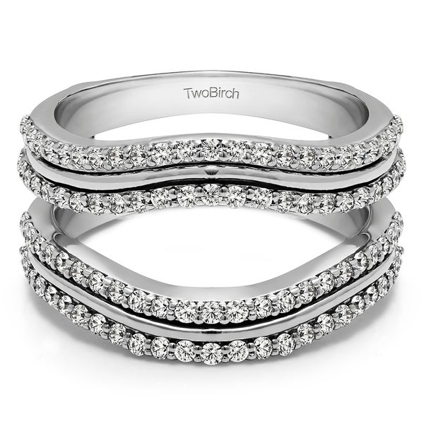0 75 Ct  Double Row Wedding Ring Guard Enhancer in Solid 14k Gold set with  Moissanite