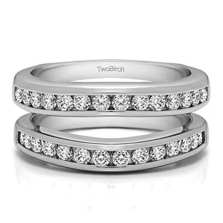0 66 Ct Channel Set Contour Wedding Ring In Solid 14k Gold Set With Moissanite