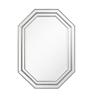 Octagonal Silver Beveled Frame Wall Mirror - Antique Silver