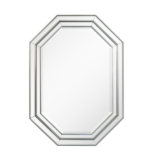 Shop Octagonal Silver Beveled Frame Wall Mirror Antique Silver