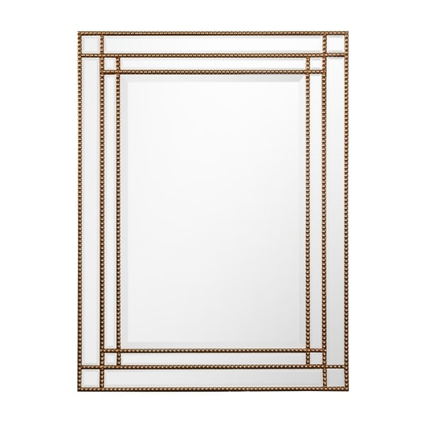 Rectangle Gold Beaded Wall Mirror