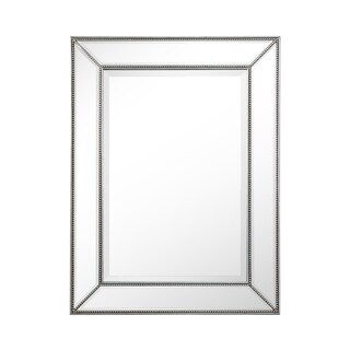 Rectangle Silver Beaded Accent Wall Mirror