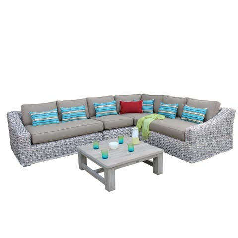 5-piece Grey and Beige Outdoor Sectional Set