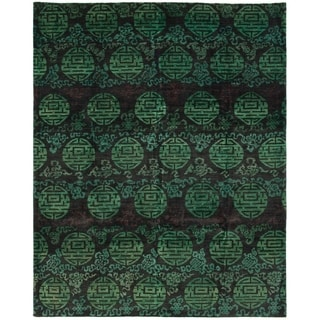 ECARPETGALLERY  Hand-knotted Vibrance Black, Dark Green Wool Rug - 7'10 x 10'0