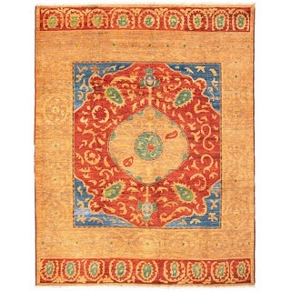 ECARPETGALLERY  Hand-knotted Shalimar Light Brown, Red Wool Rug - 9'6 x 12'2