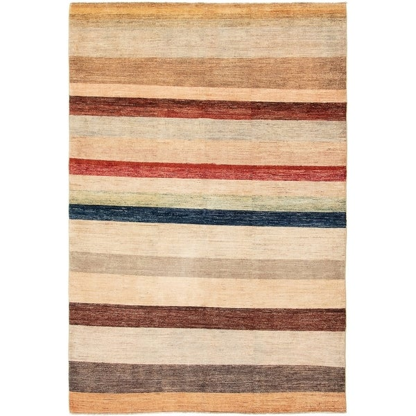 ECARPETGALLERY Hand-knotted Finest Ziegler Chobi Beige Wool Rug - 5'6 x 8'4