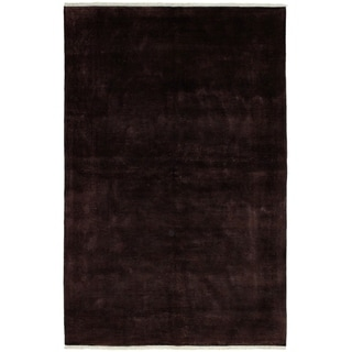 ECARPETGALLERY  Hand-knotted Color transition Dark Brown Wool Rug - 6'0 x 9'1