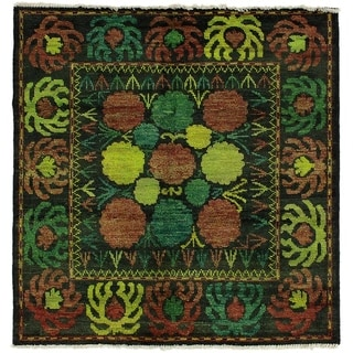 ECARPETGALLERY  Hand-knotted Vibrance Black Wool Rug - 5'2 x 5'3