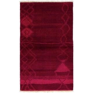 ECARPETGALLERY  Hand-knotted Vibrance Burgundy Wool Rug - 3'0 x 5'0