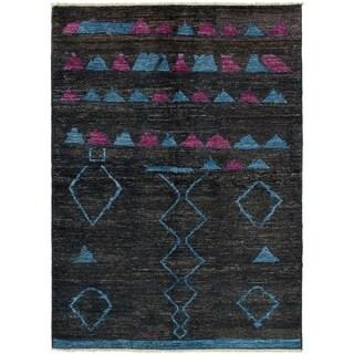 ECARPETGALLERY  Hand-knotted Shalimar Black Wool Rug - 6'3 x 9'1