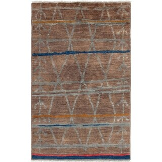 ECARPETGALLERY  Hand-knotted Tangier Brown Wool Rug - 5'0 x 8'0