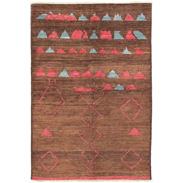 ECARPETGALLERY Hand-knotted Tangier Brown Wool Rug - 6'3 x 9'1