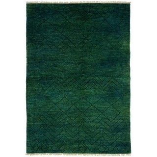 ECARPETGALLERY  Hand-knotted Tangier Teal Wool Rug - 6'1 x 9'2