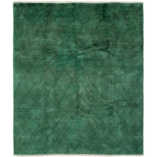 ECARPETGALLERY  Hand-knotted Vibrance Teal Wool Rug - 7'10 x 9'5