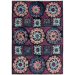 ECARPETGALLERY  Hand-knotted Shalimar Black, Burgundy Wool Rug - 6'4 x 8'10