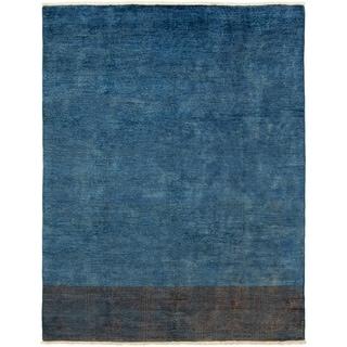 ECARPETGALLERY  Hand-knotted Vibrance Dark Blue Wool Rug - 7'10 x 9'10