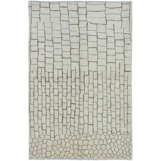 ECARPETGALLERY  Hand-knotted Tangier Cream Wool Rug - 6'0 x 9'0