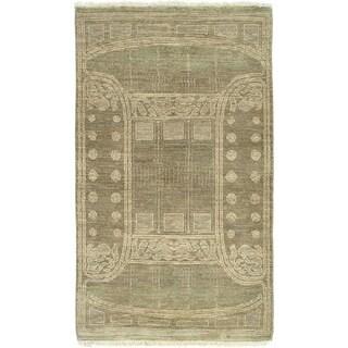 ECARPETGALLERY Hand-knotted Finest Ziegler Chobi Khaki Wool Rug - 3'0 x 5'3