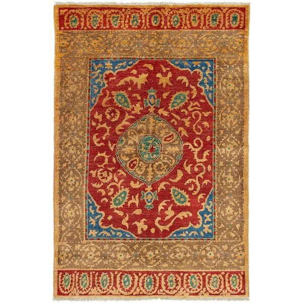 ECARPETGALLERY Hand-knotted Shalimar Dark Red Wool Rug - 6'0 x 9'0
