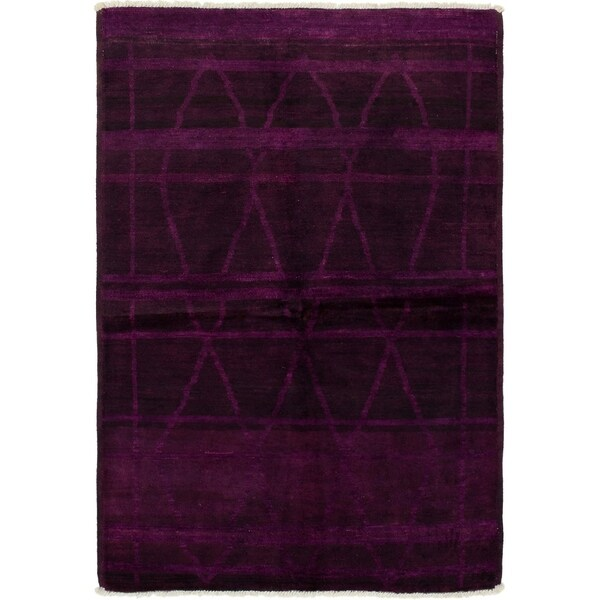 ECARPETGALLERY Hand-knotted Vibrance Burgundy Wool Rug - 5'2 x 7'7
