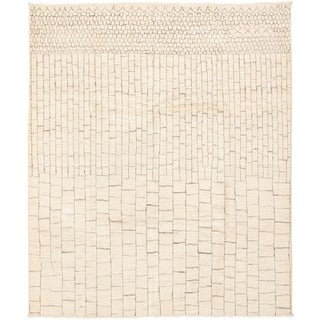ECARPETGALLERY  Hand-knotted Tangier Cream Wool Rug - 7'10 x 9'5