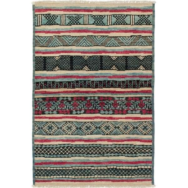 ECARPETGALLERY Hand-knotted Shalimar Sky Blue Wool Rug - 4'2 x 6'3
