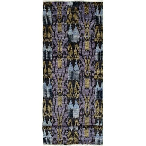 ECARPETGALLERY Hand-knotted Shalimar Black, Violet Wool Rug - 4'0 x 16'3