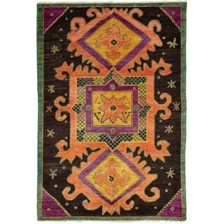 ECARPETGALLERY  Hand-knotted Shalimar Dark Brown Wool Rug - 6'1 x 9'0