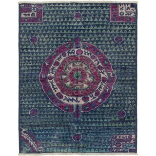 ECARPETGALLERY  Hand-knotted Shalimar Navy Blue Wool Rug - 5'2 x 6'8
