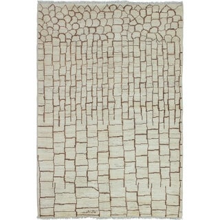 ECARPETGALLERY  Hand-knotted Tangier Cream Wool Rug - 5'5 x 7'10