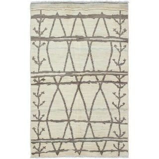 ECARPETGALLERY  Hand-knotted Tangier Cream Wool Rug - 4'10 x 7'10