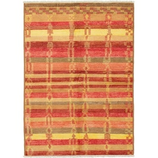 ECARPETGALLERY  Hand-knotted Shalimar Red Wool Rug - 6'3 x 8'9