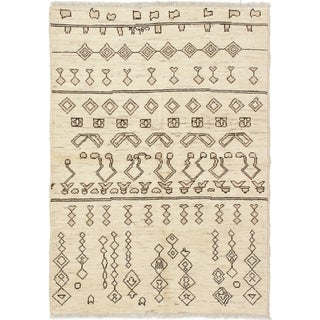 ECARPETGALLERY  Hand-knotted Tangier Cream Wool Rug - 4'11 x 6'11