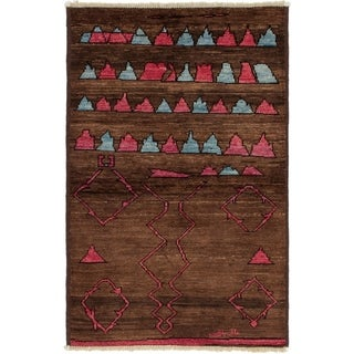 ECARPETGALLERY  Hand-knotted Tangier Brown Wool Rug - 3'11 x 6'2