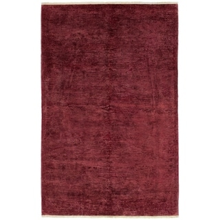 ECARPETGALLERY  Hand-knotted Color transition Burgundy Wool Rug - 6'0 x 9'5