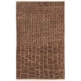 ECARPETGALLERY  Hand-knotted Tangier Dark Brown Wool Rug - 5'0 x 8'1