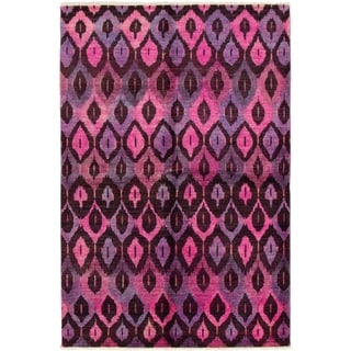 ECARPETGALLERY  Hand-knotted Vibrance Black, Dark Pink Wool Rug - 5'8 x 8'8